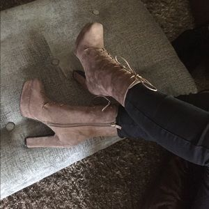 Shoes - Vegan Chunky heel lace up PLATFORM ANKLE BOOTS